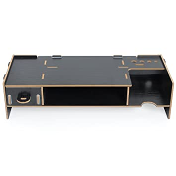 Soporte de Mesa para Monitor Organizador de Madera con Dos Pisos Ideal para Desktop Monitor LCD TV Laptop Ordenador Portátil Screen- Negro: Amazon.es: ...
