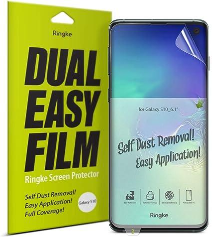 Ringke Dual Easy Doble Fácil de Cobertura Total para Protector de Pantalla Galaxy S10 [2-Pack] Alta Resolución [Anti-Manchas Recubrimiento] Funda Compatible Protector para Galaxy S10 (2019): Amazon.es: Electrónica