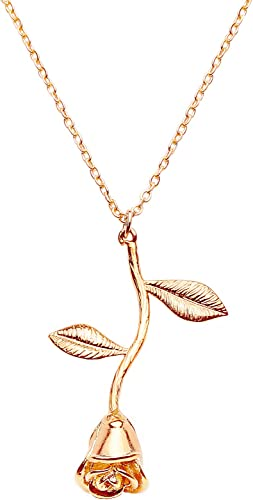 Amazon Com Mignonandmignon Rose Pendant Necklace In Gold Rose Gold Silver Beauty And The Beast Rose Necklace Jewelry Gift For Mom Gold Jewelry