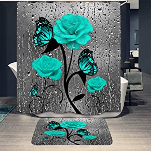 "Shower Curtain Set with Bathroom Rug Pack of 2 Teal Gray Rose Flower Butterflies Bath Waterproof Curtain with Non-Slip Rugs Modern Bathroom Home Decor (Teal Gray Rose, 72""x72"")"