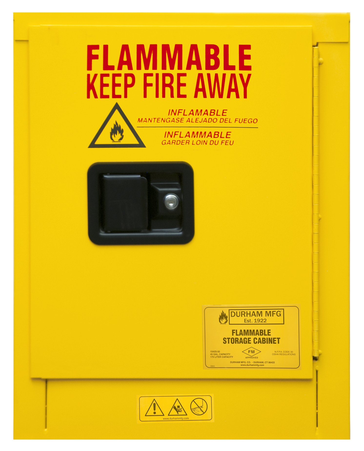 Durham 1004M-50 Flammable Safety Cabinet, 1 Manual Door, 4 gal, 17 3/8'' X 18 1/8'' X 22 1/8'', Yellow