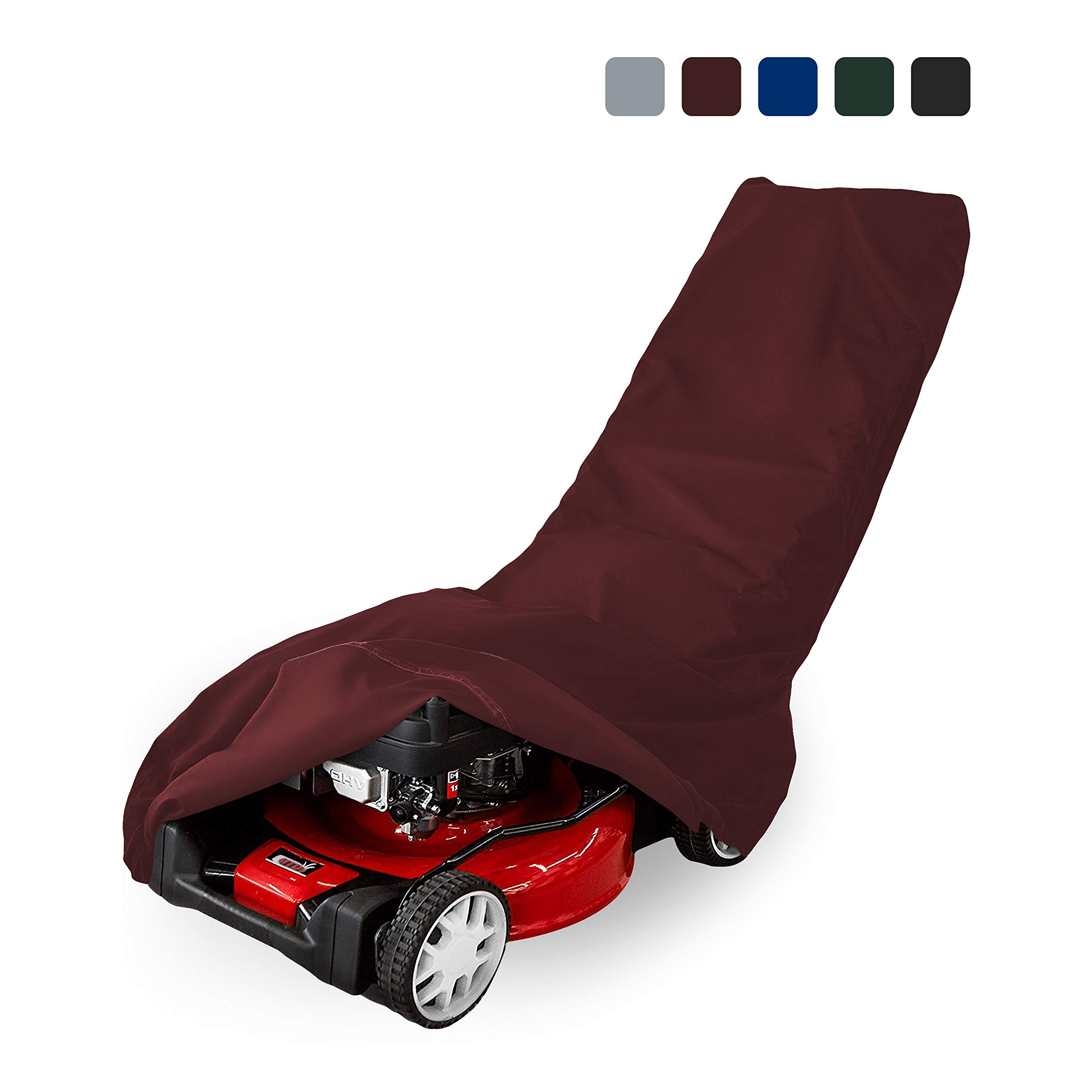 Lawn Mower Cover 18 Oz Waterproof - Customize Cover with Any Size - 100% UV & Weather Resistant Grass Mower Cover with Air Pocket and Drawstring with Snug Fit (57'' W x 39'' W x 44''H, Burgundy)