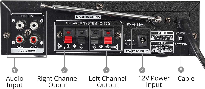PC uzw. PROZOR 800W HiFi Digital Stereo Audio Amplifier 12V// 220V 2CH Verst/ärker Eingebaute Bluetooth mit Fernbedienung FM Radio Mic Auto USB SD Slot f/ür Tablet