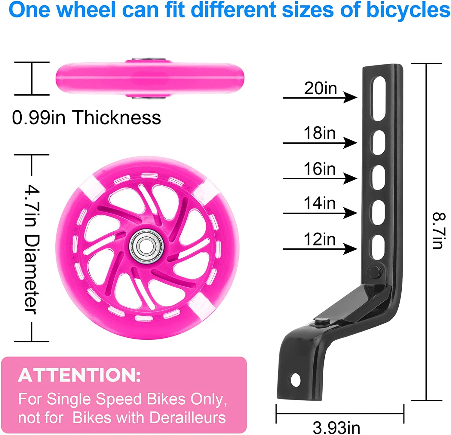 A Roll of Reflective Tape for Boys and Girls LAVEVE Training Wheels for Kids Bike Flash Mute Big Wheel Bicycle Stabilizers Mounted Kit for 12 14 16 18 20 inch Kids Bike Including Mounted Kit