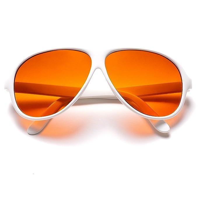 Amazon.com: Oficial Blublocker Blanco Aviator anteojos de ...