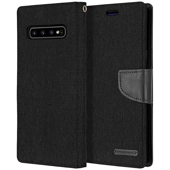 Amazon.com: Galaxy S10 Plus Wallet Case, Goospery Canvas Diary [Denim Material] Stand Flip Cover with Card Holder & Magnetic Closure (Black) S10P-CAN-BLK: ...