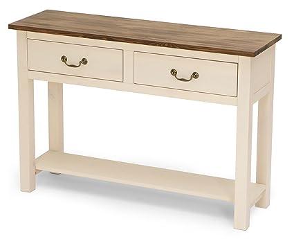 Crema pintado a madera de pino mesa consola con 2 cajones 118 x 36 x ...