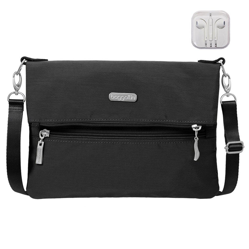 Baggallini Flip Zip Crossbody Waist Pack Clutch Convertible Bag Bundle with complimentary Travel Earphones (Black)