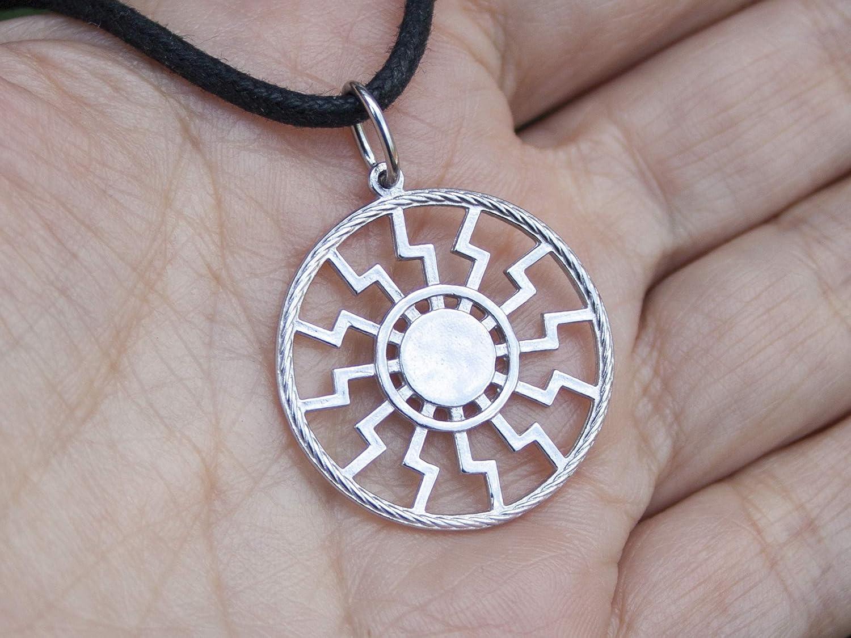 925 Sterling Silver Black Sun Wheel Necklace Sonnenrad Pendant Occult Symbol Kolovrat Warrior Amulet Talisman Pagan Norse Viking Jewelry for Men Women//Handmade
