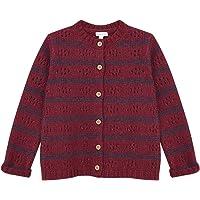 Gocco Chaqueta de Rayas Roja Y Gris Oscuro con Desagujados Suéter cárdigan para Niñas