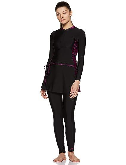 cb1dee3b165 Speedo Female Swimwear 2 Piece Full Body Suit (807230P014 Black   Boom  Splice AOP Blk-