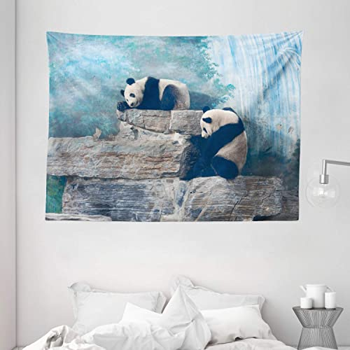 Ambesonne Panda Tapestry, Picture of Panda in Beijing Zoo Sitting on Stones Waterfall Painted Wall at The Back, Wide Wall Hanging for Bedroom Living Room Dorm, 80 X 60 , Brown Blue