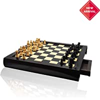 Kids Mandi Wooden Chess Set for Kids and Adults | Small Travel Chess Board Game with Crafted Chessmen and Storage Slots (Black)