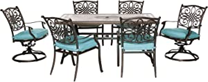"""Hanover MONDN7PCSW-2-BLU Monaco 7-Piece Set in Blue with 4 Dining Chairs, 2 Swivel Rockers, and a 40"""" x 68"""" Tile-Top Table Outdoor Furniture"""