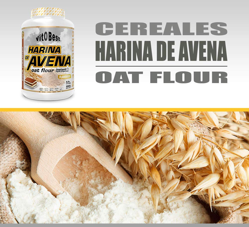 Harina de Avena Sabores Variados - Suplementos Alimentación y Suplementos Deportivos - Vitobest (Tarta de Manzana (Apple Pie), 2 Kg)