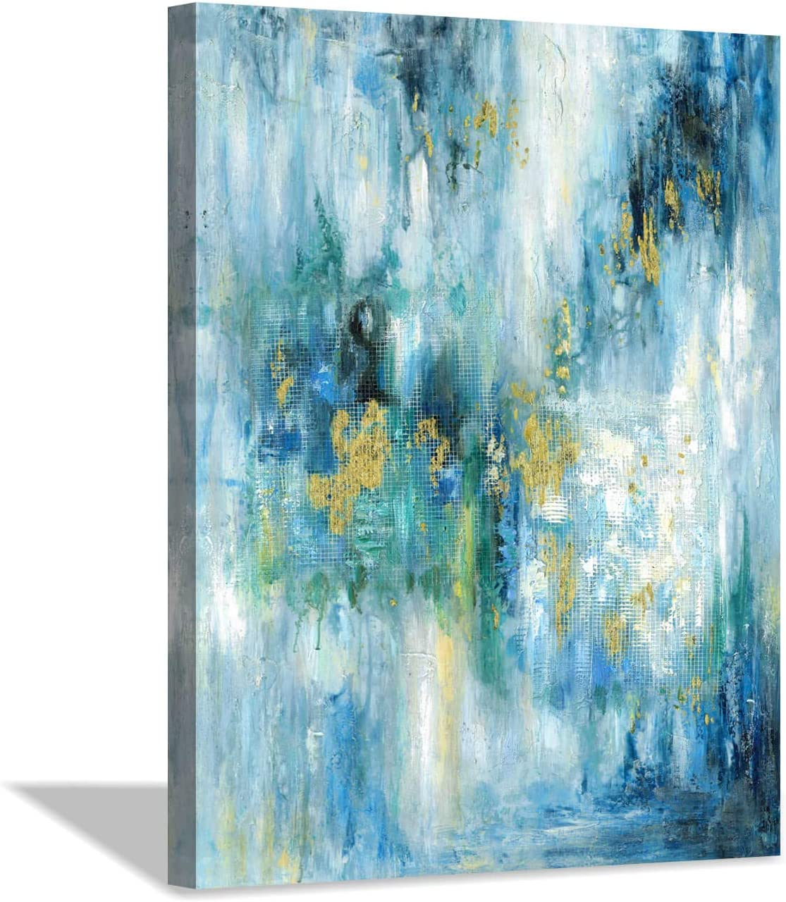 Hardy Gallery Blue Abstract Painting Wall Art: Modern Picture on Canvas Artwork for Bedroom (24'' x 18'' x 1 Panel)