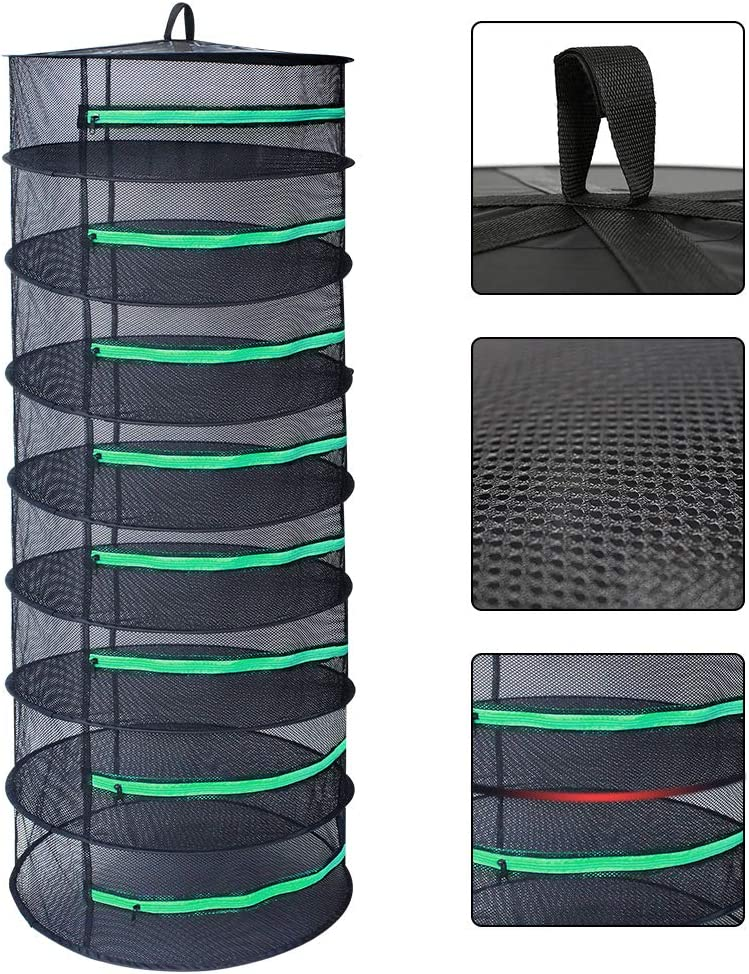 G-LEAF Drying Rack Net Dryer 2ft 6 Layer Black W//Green Zippers Collapsible Mesh Hydroponics