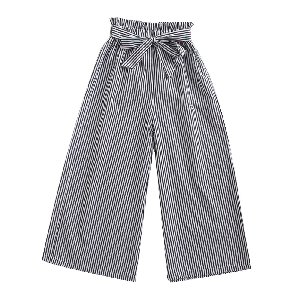 ESHOO Girls Bowknot High Waist Stripe Pants Loose Trousers