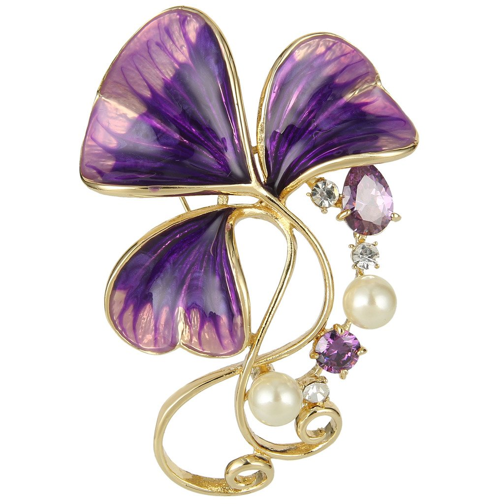 EVER FAITH Austrian Crystal Zircon Cream Simulated Pearl Enamel 3-Leaf Clover Brooch Pin Purple Gold-Tone