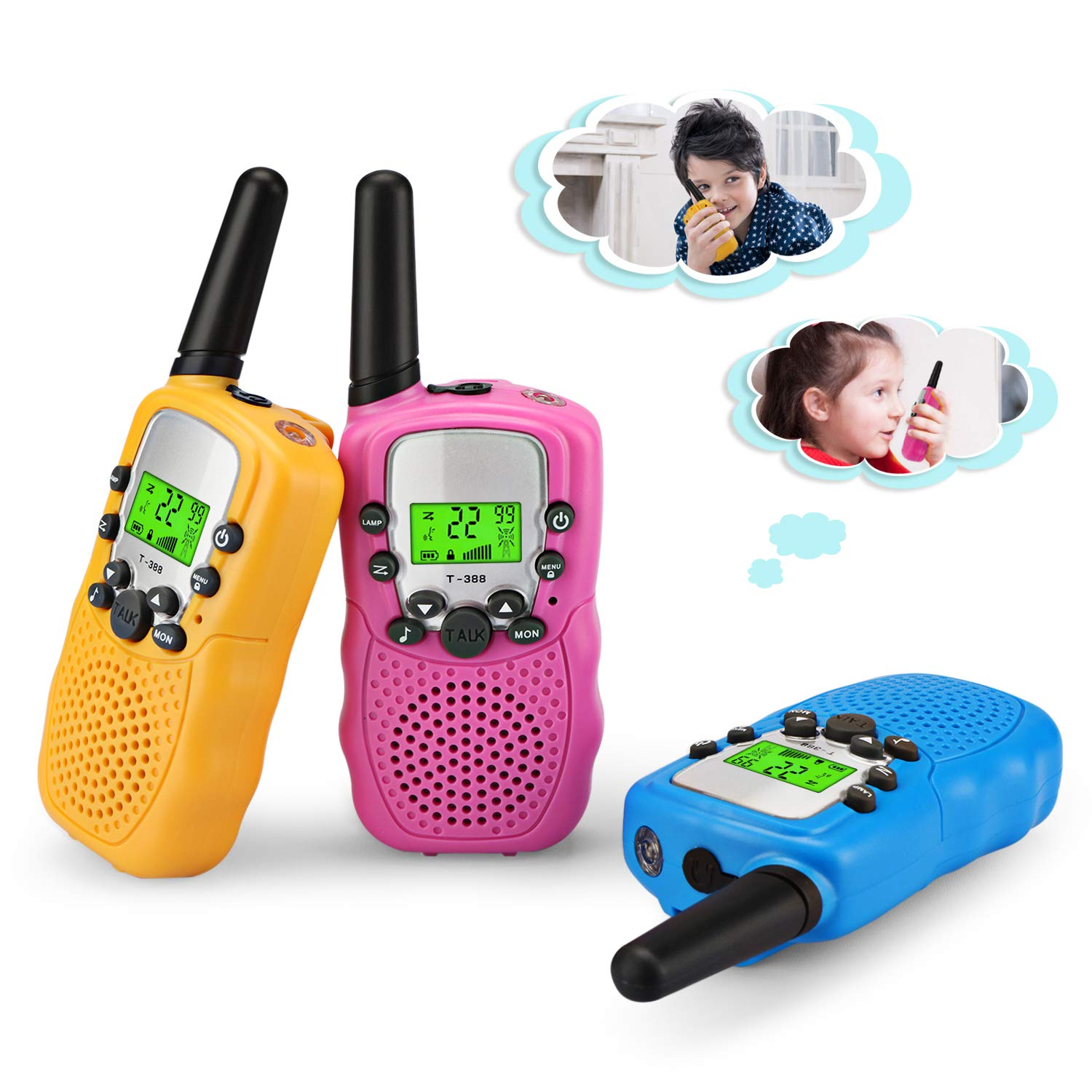 Zhenhao Walkie Talkies for Kids 3 Packs - 22 Channels Two Way Radio 3 Miles Long Range Outdoor Toys with 3 Earpieces and 3 Lanyards for Boys Girls