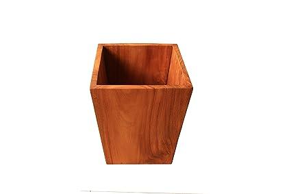 Kasih Coop Handmade Teak Wood Waste Basket Trash Can 87 X 87 X 99