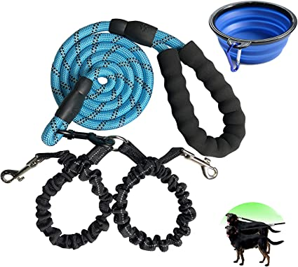 SENYEPETS Double Dog Leash Swivel No Tangle Double Dog Walking Training Leash Comfortable Shock Absorbing Reflective Bungee for Two Dogs