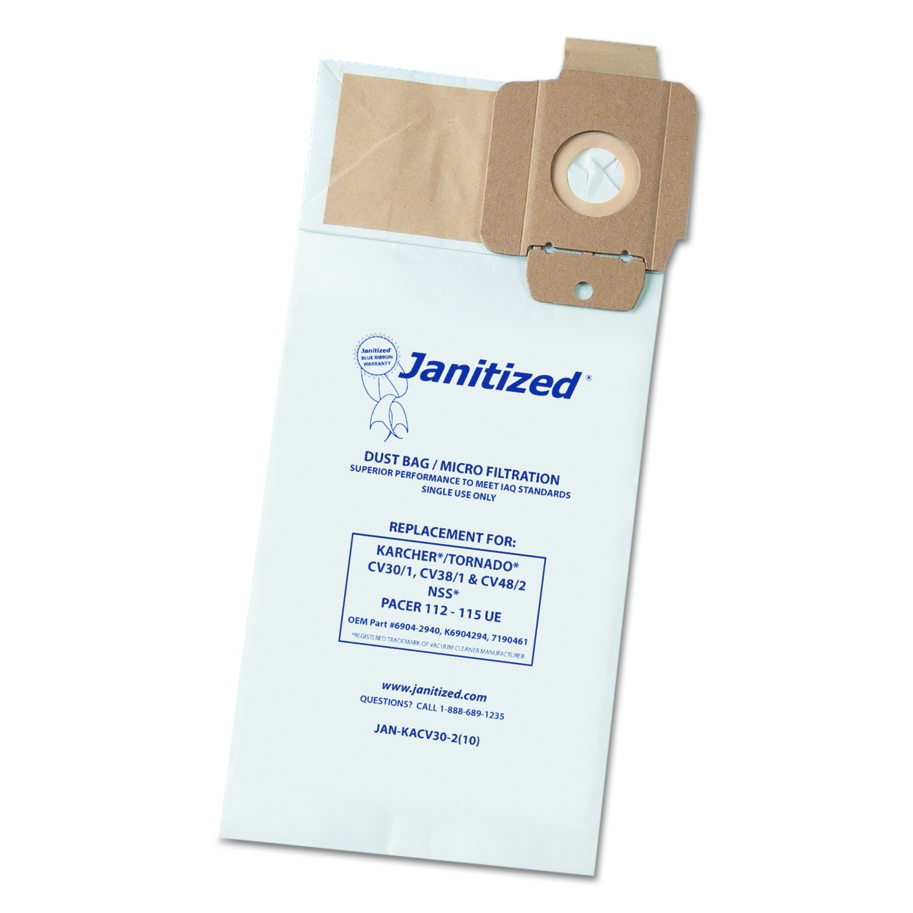 Janitized JAN-KACV30-2 Karcher/Tornado CV30/1 and CV38/1 2 Ply Vacuum Bag (10 per Pack, Case of 10 Packs) by Janitized