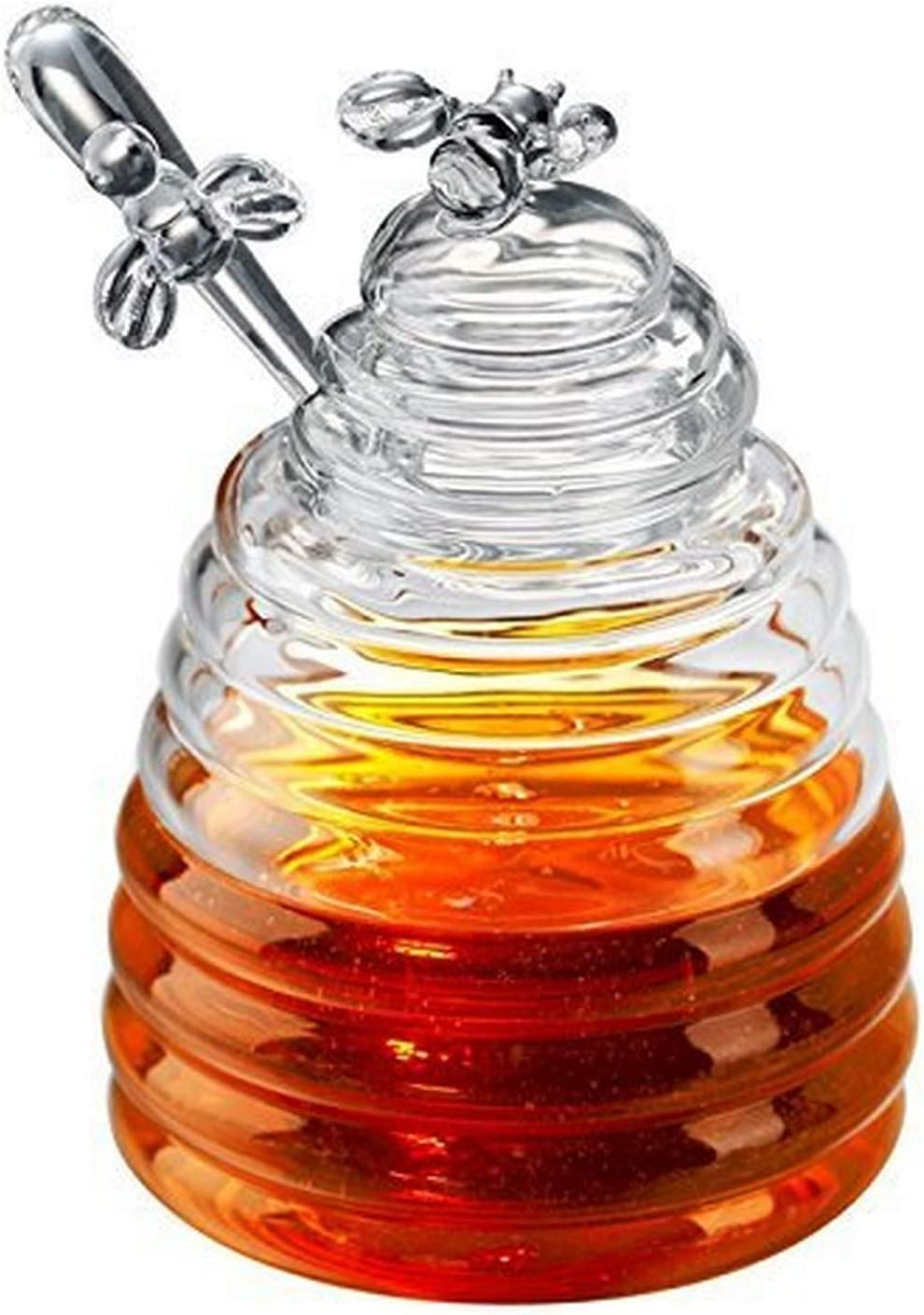 Artland Honey Bee Pot With Dipper(Gift Boxed), 15 oz, Clear