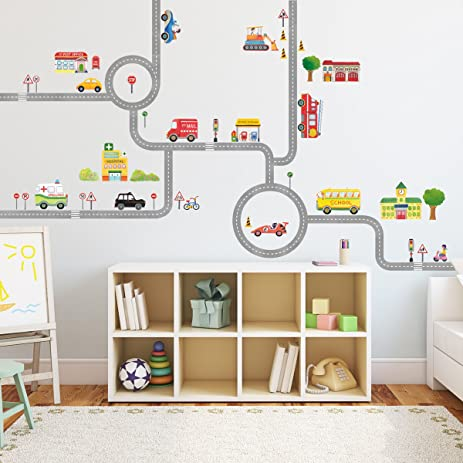 decowall da1404 the road and cars kids wall decals wall stickers peel and stick