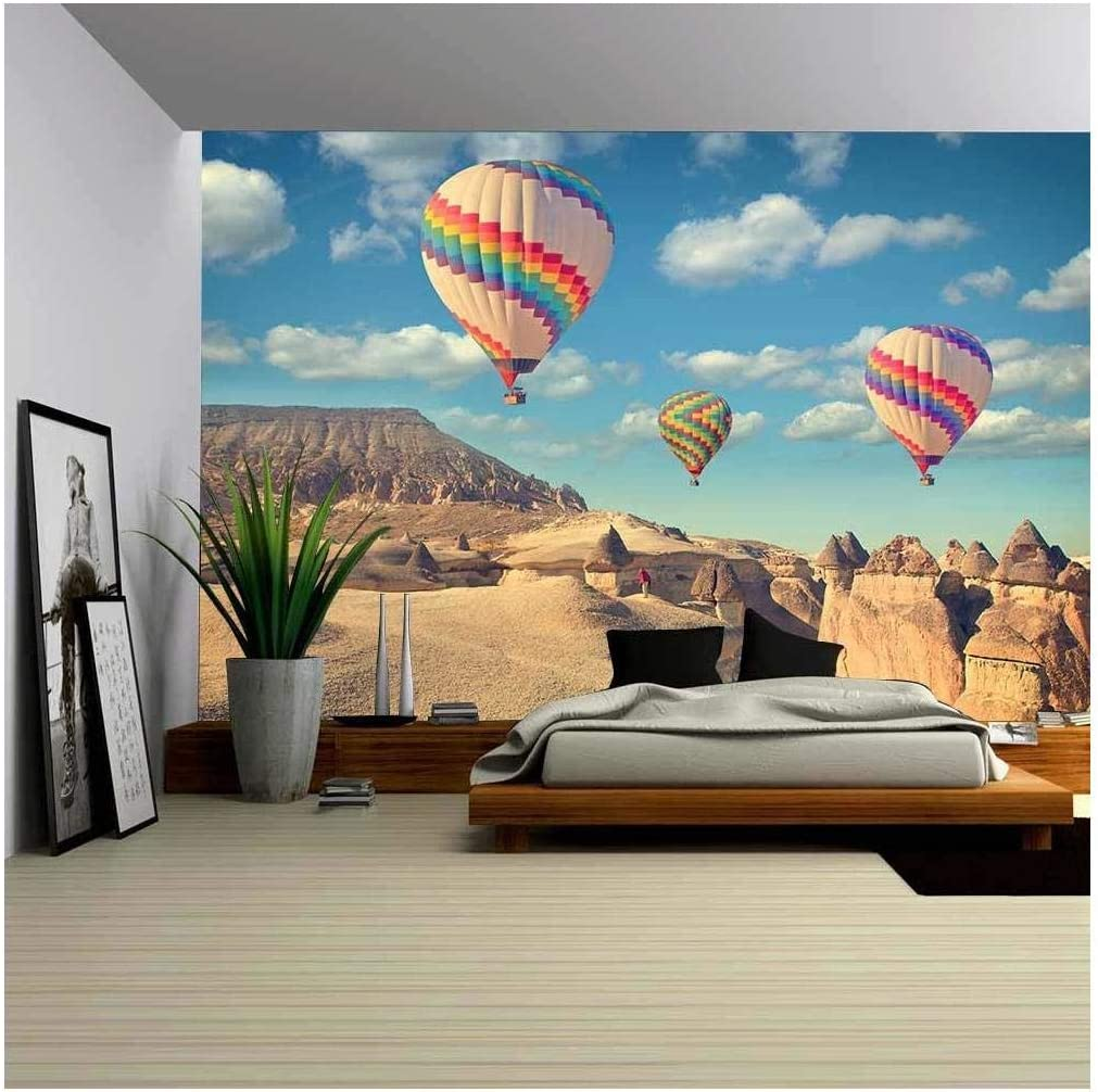 Wall26 Vintage Photo Of Hot Air Balloon Flying Over Rock Landscape At Cappadocia Turkey Removable Wall Mural Self Adhesive Large Wallpaper 66x96 Inches Amazon Com