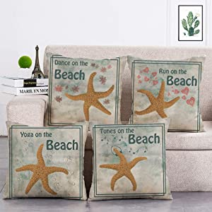 geinne 4pack Music Starfish Style Throw Pillow Case Dancing Running Tunes Yoga Starfish Theme Decorative Square Cotton Linen Cushion Cover for 18 X 18 Inch Pillow Inserts (Dance Starfish)