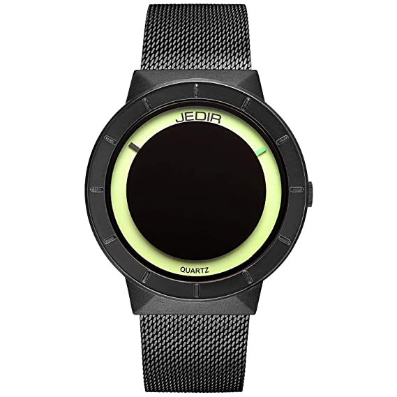JEDIR Relojes Unisex clásico Cuarzo Reloj de Pulsera Dial analógico Negro Caso Redondo de Acero Inoxidable