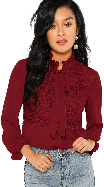 Floerns Women's Long Sleeve Bow Tie Mesh Chiffon Ruffle Blouse Top