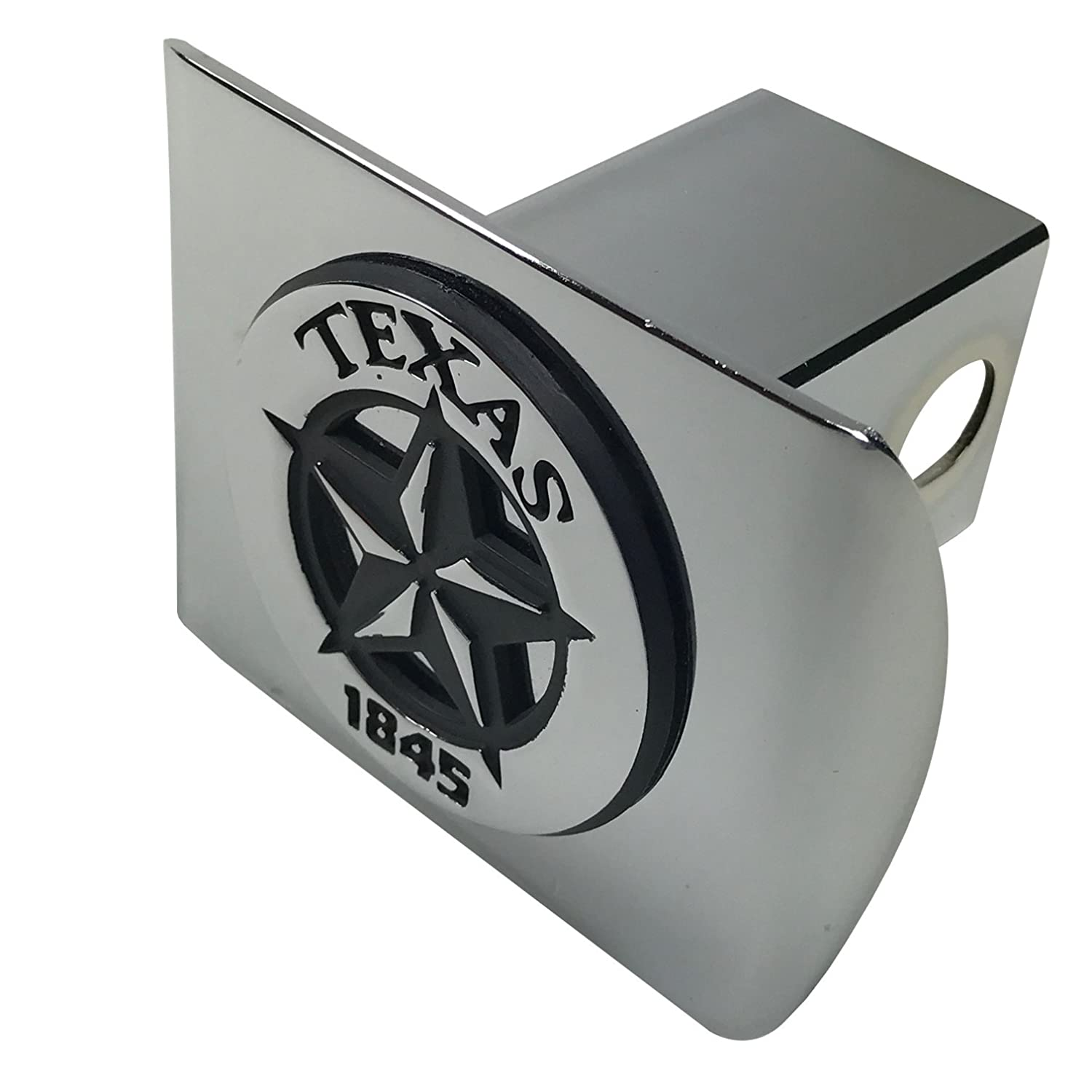Texas State Star 1845 METAL Emblem on Chrome METAL Hitch Cover AMG
