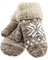 (グローブデポ) GlovesDEPO あったかレディースニット雪柄ミトン手袋 内ボア中5本指