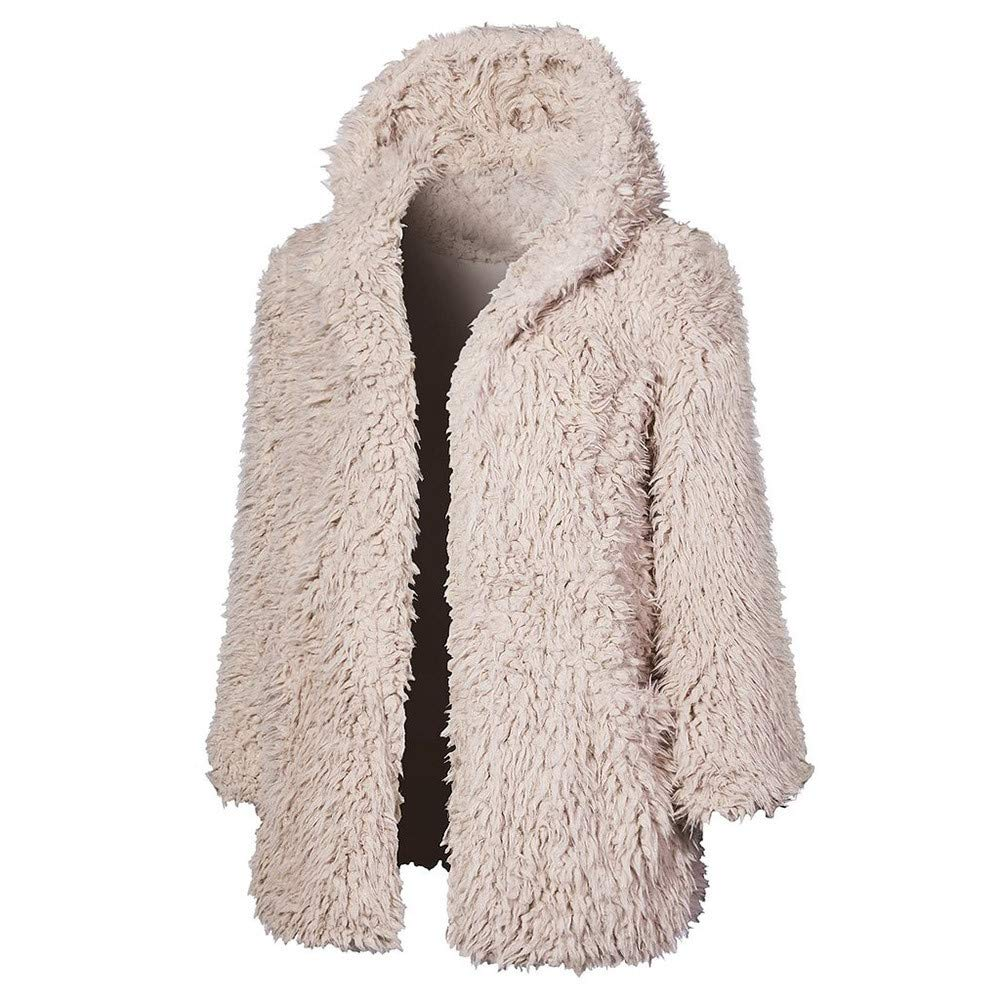 Amazon.com: Franterd Women Fluffy Coat Winter Plush Fuzzy Thick Hoodie Outwear Open Front Cardigan Warm Jacket Overcoat: Sports & Outdoors