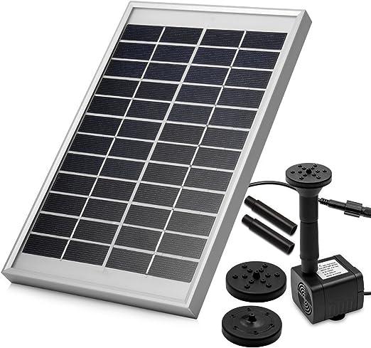 LUXJET® 5W Solar Bombas para Fuentes, Bomba de Agua Solar, para el jardín, el Patio, Estanque, etc. Flujo máximo 380L / h: Amazon.es: Jardín
