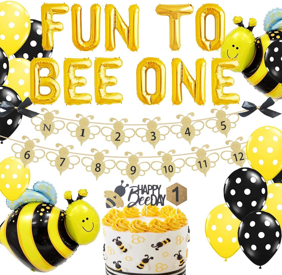 Bee Cake Topper First Birthday Cake Decoration,Bee Birthday Party Decorations for Photo Booth Props,Best Bee Party Supplies for Baby Bee Cake Topper for 1st Birthday