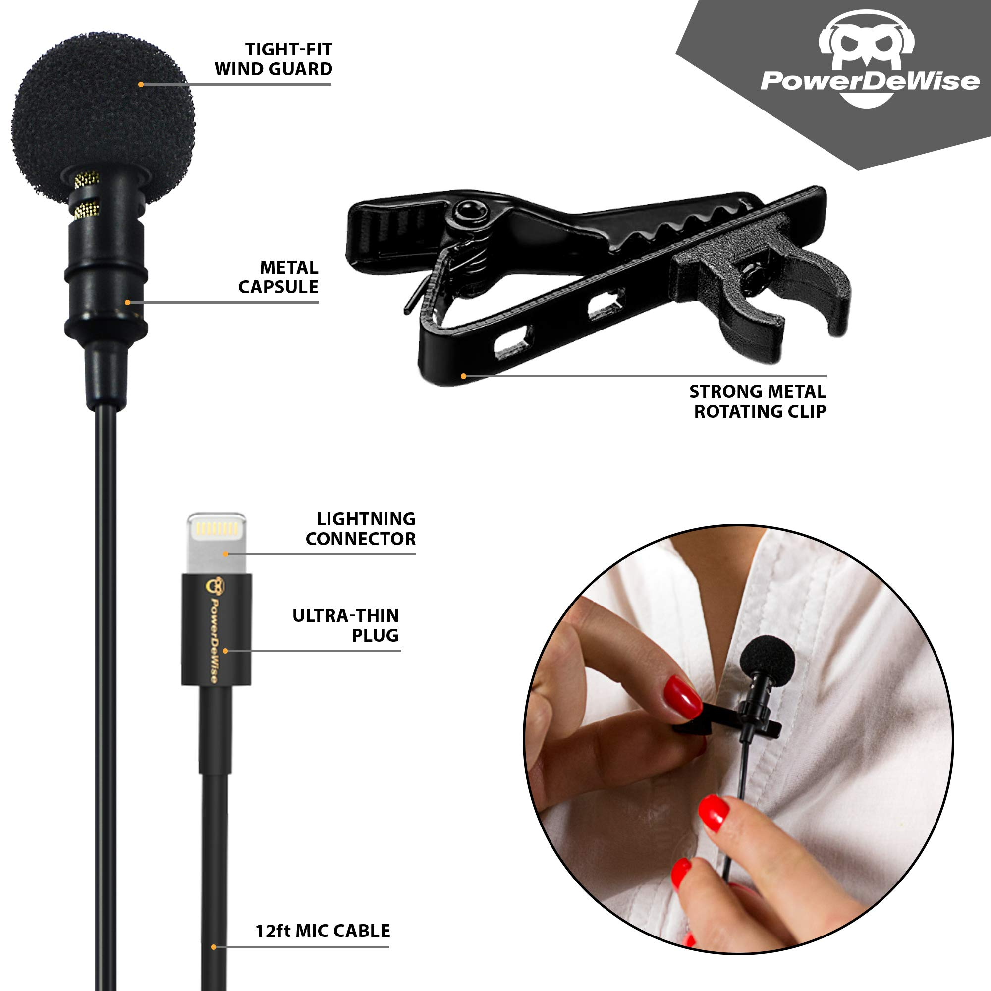 PowerDeWise Microphone for iPhone with Lightning Connector - iPhone Lightning Microphone - Excellent Mic iPhone 6 7 8 X by PowerDeWise (Image #6)