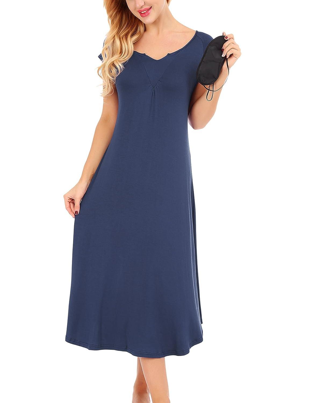 Navy Dromild Womens Nightgowns Long Loungewear V Neck Sleep Dress Sexy Sleepwear