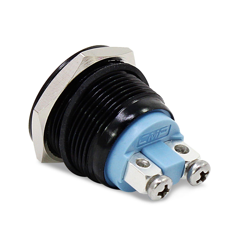 Noir PsmGoods/® 19mm 12V imperm/éable /à leau Metal Circle verrouillage bouton poussoir momentan/é Switch Switch