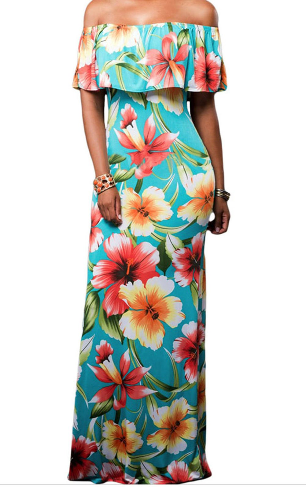 YeeATZ Print Off-the-shoulder Maxi Dress(Green,S) by YeeATZ