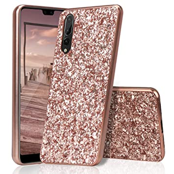 sports shoes fc6ca e8d1a HUDDU Huawei P20 Pro Case, Glitter Sparkles Luxury Shinny Hard Case Bling  Anti-Scratch Back PC Diamond Cover Bumper Case Protective Phone Case for ...