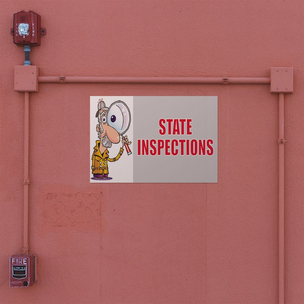 Decal Sticker Multiple Sizes State Inspections #1 Style A Business State Inspections Outdoor Store Sign Grey Set of 10 34inx22in