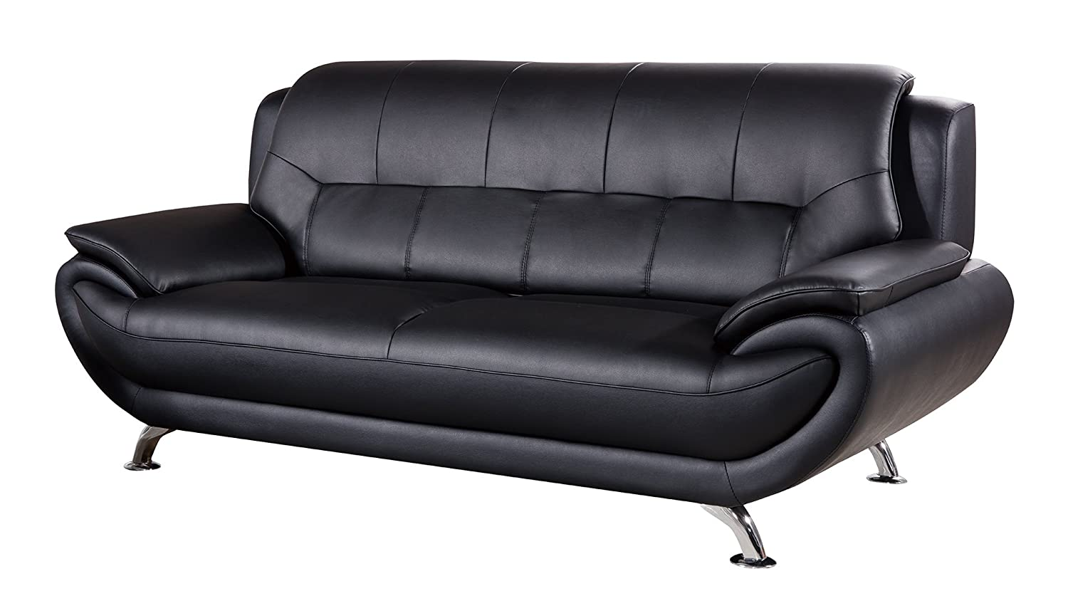 American Eagle Furniture AE208-BK-CHR Highland Bonded Leather Living Room Sofa Chair with Pillow Top Armrests, Black