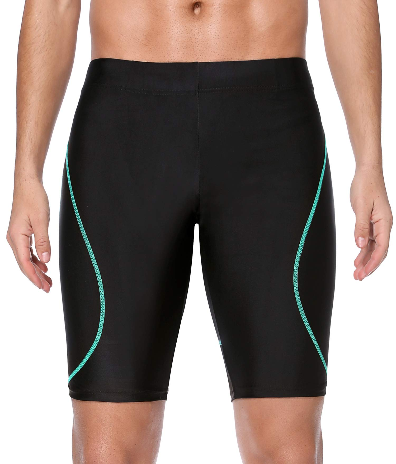 ATTRACO Mens Splice Tight Swimsuit Jammer Quick Dry Durable Swim Shorts Black 30 by ATTRACO