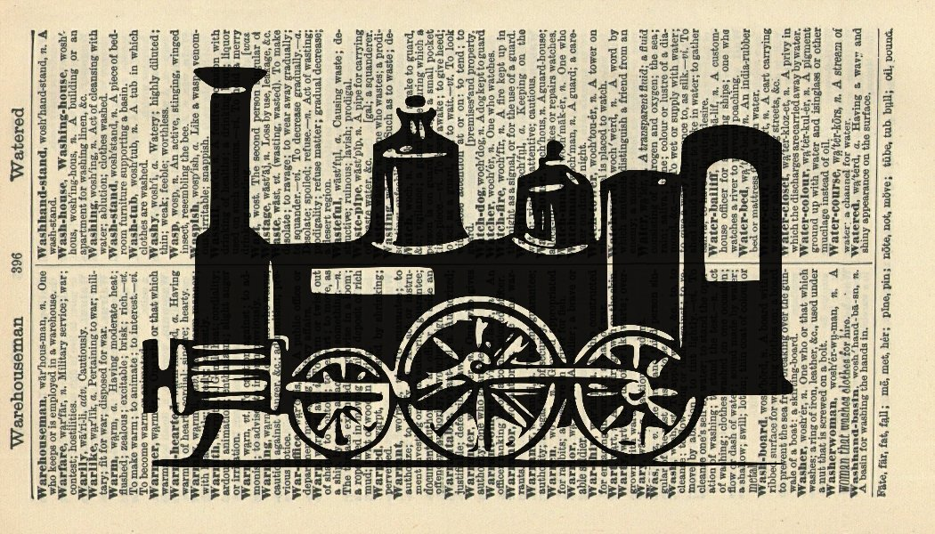 Steam Train Art Print - Transport Art Print - Victorian Art Print - Vintage Dictionary Art Print - Wall Art Print - Gift - Vehicle Artwork - Dictionary Page - Dictionary Art - Vintage Art - Illustration - Wall Hanging - Home Décor - Housewares - Book Print
