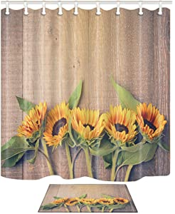 NYMB Flower Decor Sunflower on The Wood Shower Curtain, Polyester Fabric Farm House Rustic Wooden Shower Curtain Suit with 40x60cm Flannel Non-Slip Floor Mat Bath Rugs,69X70in