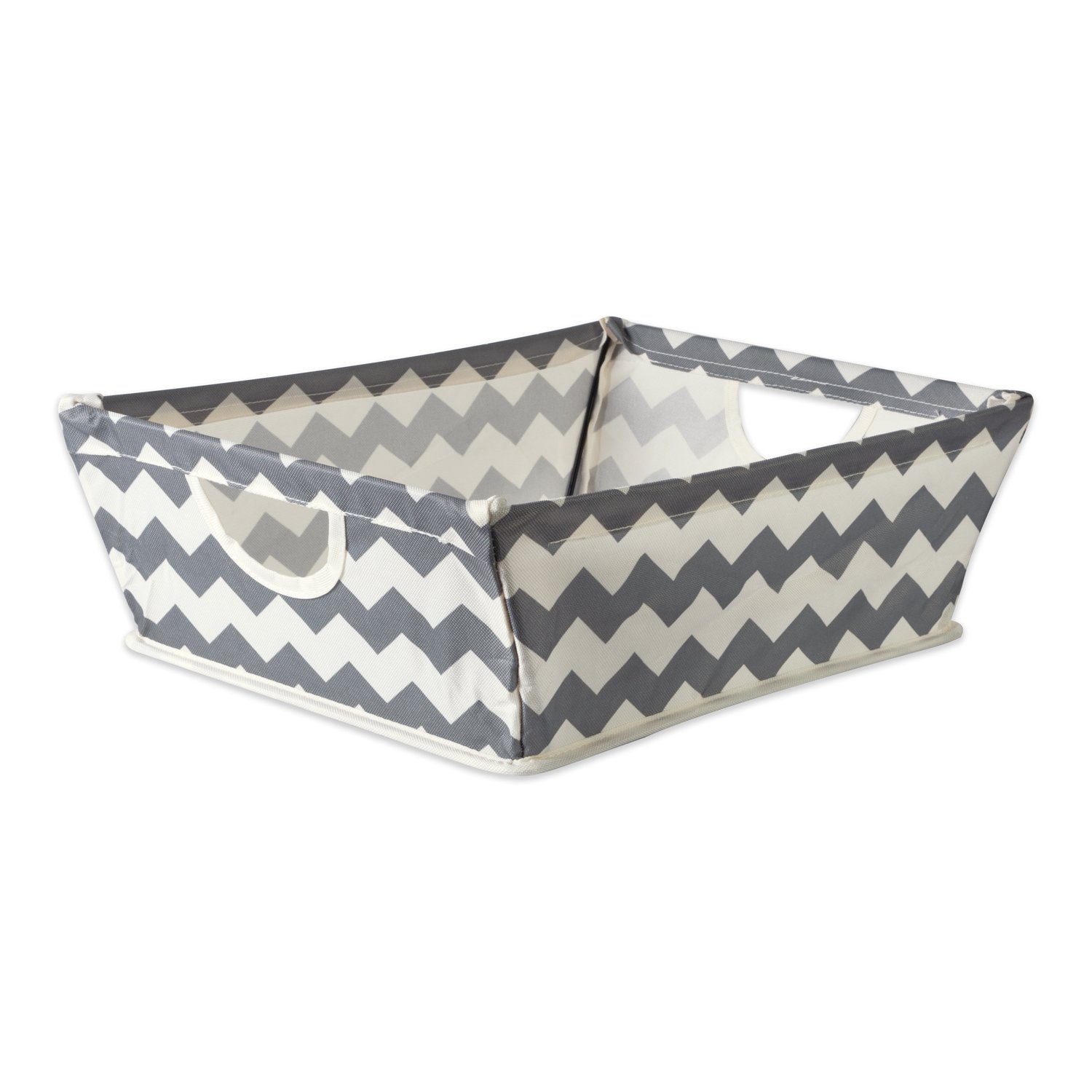DII Collapsible Polyester Trapezoid Storage Basket, Home Organizational Solution for Office, Bedroom, Closet, & Toys (Tray - 16x12x5'') Gray Chevron