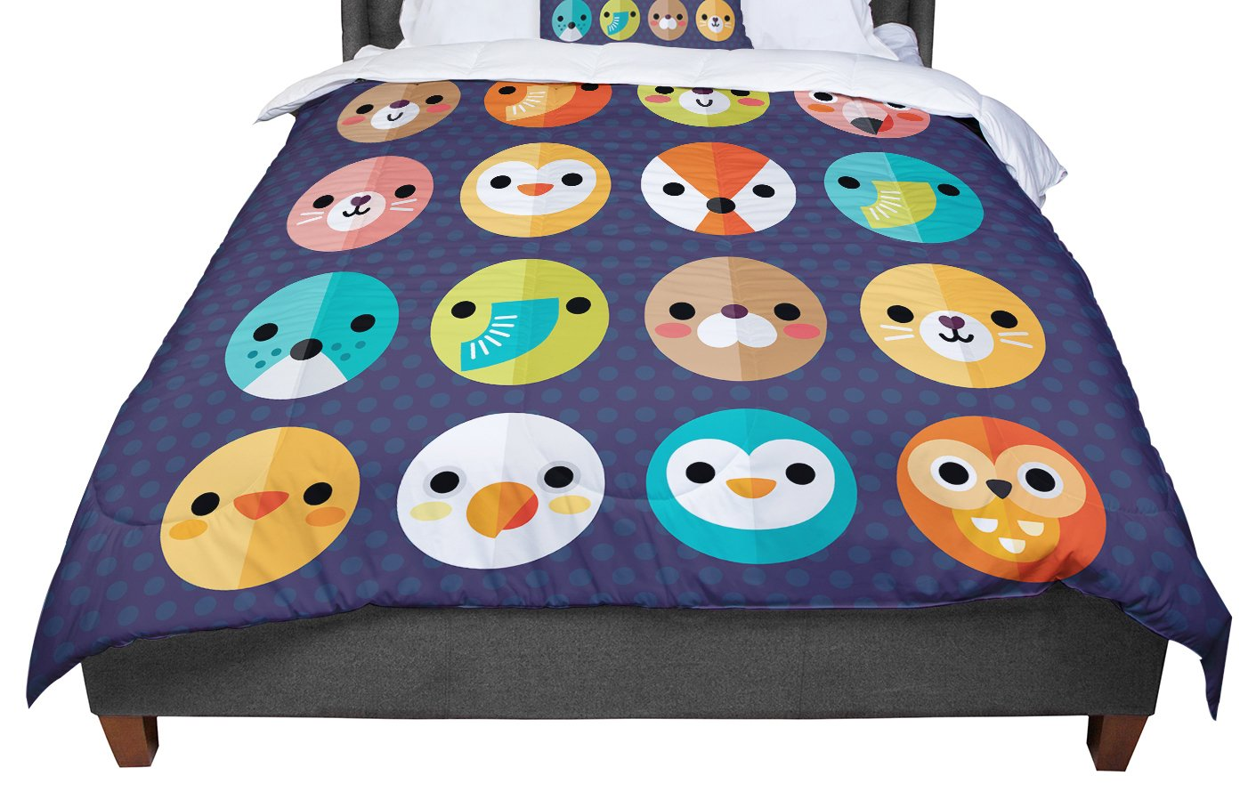 Cal King Comforter KESS InHouse Daisy Beatrice Smiley Faces Animals King 104 X 88